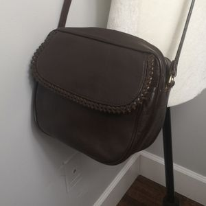 No label brown genuine leather crossbody bag